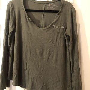 """Lol Vintage cozy green top """"good vibes""""- small"""